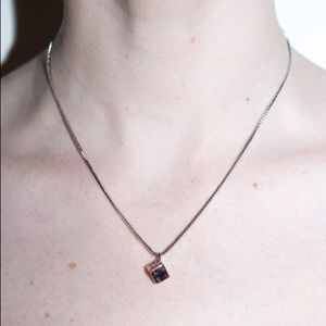 brandy melville silver & red hearts dice necklace